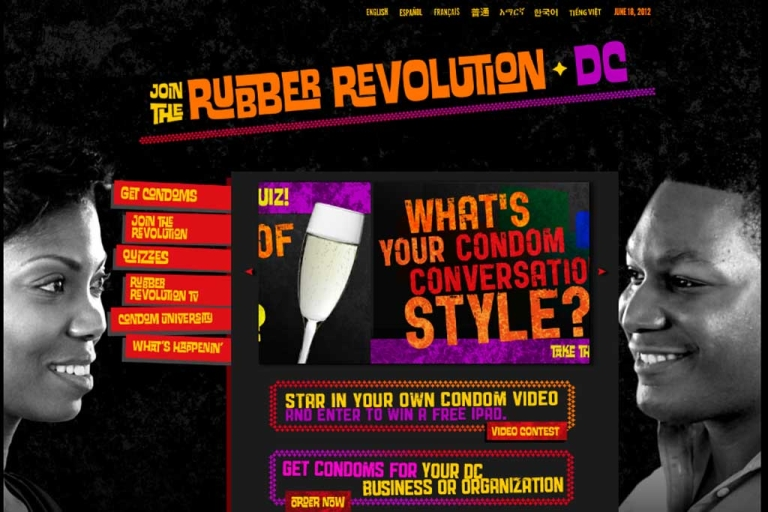 <p>The homepage of Washington, DC's Rubber Revolution Campaign website</p>