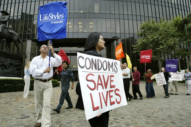 <p>Condoms must be worn in porn while filming within Los Angeles city limits.</p>