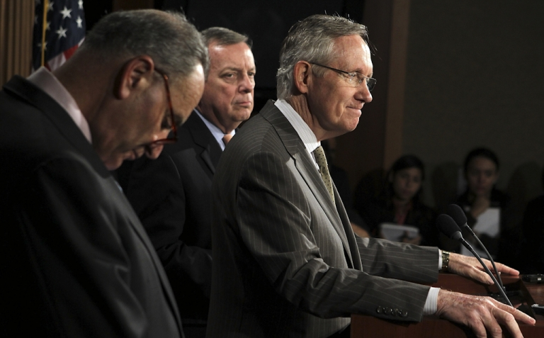 <p>U.S. Senate Majority Leader Sen. Harry Reid (D-NV) (R) speaks as Sen. Charles Schumer (D-NY) (L), and Senate Majority Whip Sen. Richard Durbin (D-IL) listen during a news conference September 22, 2011 on Capitol Hill in Washington, DC. The Senate Democratic leaders discussed the Disaster Relief Funding at the news conference.</p>