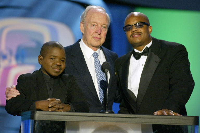 <p>(L to R) Actors Gary Coleman, Conrad Bain and Todd Bridges speak on stage during the TV Land Awards 2003 at the Hollywood Palladium on March 2, 2003.</p>