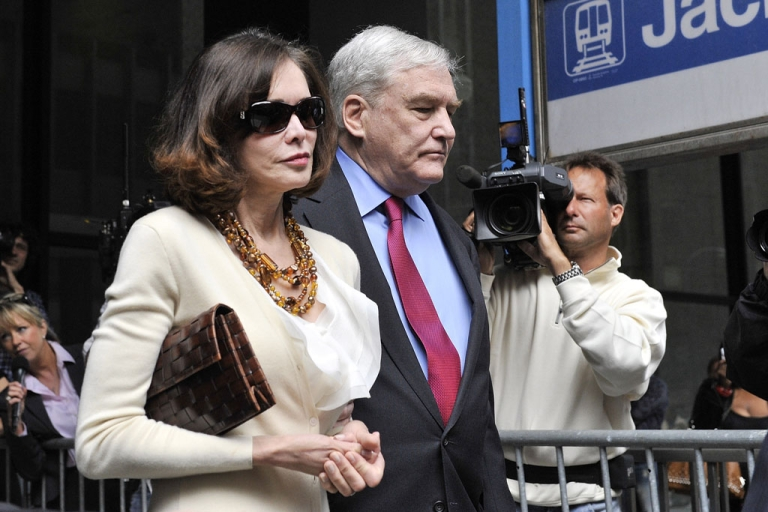 <p>Former press magnate Conrad Black and wife Barbara Amiel leave federal court in Chicago where he was re-sentenced to 3 1/2 years in prison on June 24, 2011.</p>