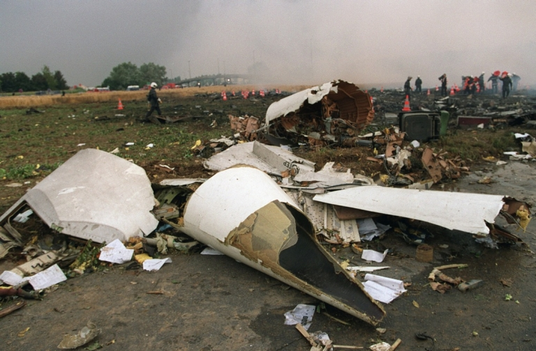 <p>A file picture taken on July 26, 2000 in Gonesse, northern Paris, shows part of the nose cone after an Air France Concorde crashed during take-off, killing 113 people.</p>