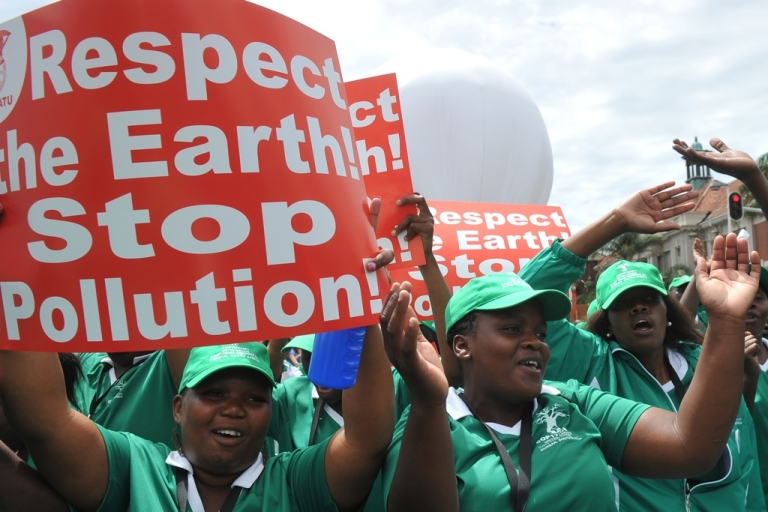<p>Hundreds of protesters march in on December 3, 2011 at the UN climate talks in Durban. The 12-day climate change conference will include talks between the representatives of 194 nations, under the UN Framework Convention on Climate Change (UNFCCC) end on December 9.</p>