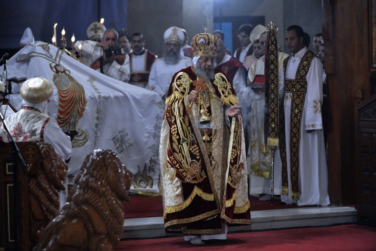 <p>Newly elected leader of Egypt's Coptic Christian, Pope Tawadros II, Head of the Egyptian Coptic Orthodox Church, leads the Coptic Christmas midnight mass at the al-Abasseya Cathedral in Cairo late on January 6, 2013. Copts of Egypt celebrate their first Christmas since the country has been ruled by Islamists in a climate of concern.</p>