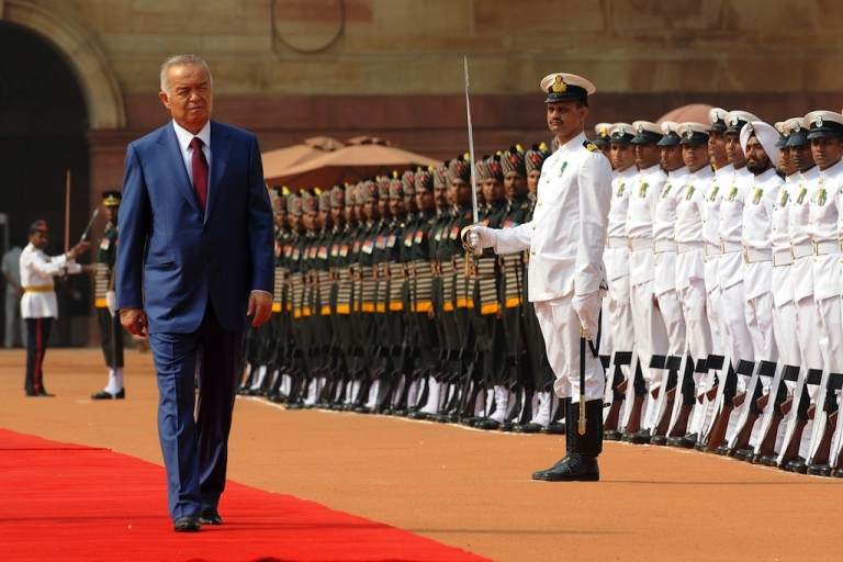 <p>#177 — Uzbekistan<br /> Uzbekistan's President Islam Karimov inspects the guard of honor during a ceremonial reception at President House in New Delhi, India, on May 18, 2011.</p>