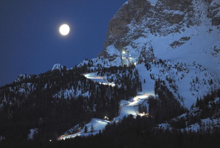 <p>The moon shines on the Italian Dolomites above Cortina d'Ampezzo, ski resort of the Italian rich and scene of an astonishing raid by tax authorities</p>