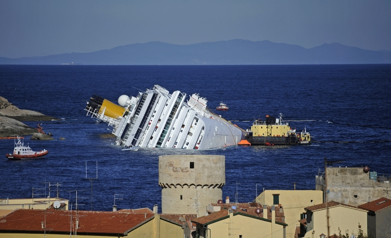 <p>This file picture taken on Jan 25 shows the stricken cruise liner Costa Concordia off Giglio Island.</p>