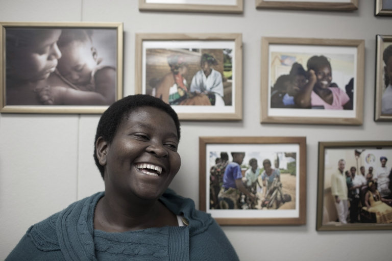 <p>Nozi Samela at the offices of mothers2mothers in Cape Town, South Africa.</p>