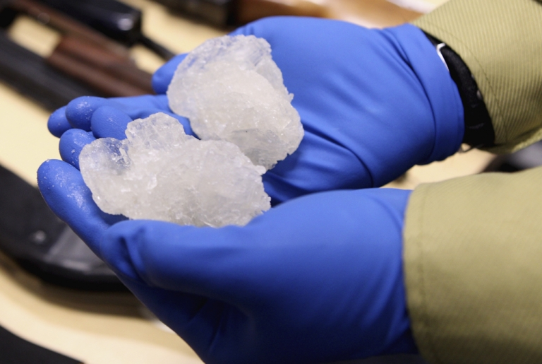<p>Crystal meth confiscated during a police raid. A kindergarten student in rural Missouri brought a bag of crystal meth and a crack pipe to school for show-and-tell.</p>