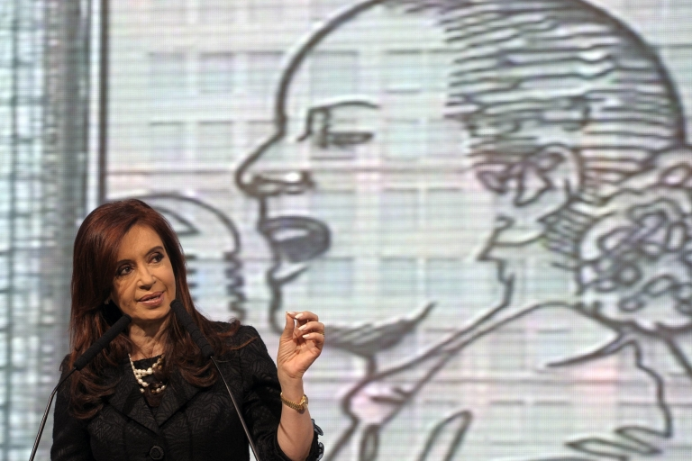 <p>Argentine President Cristina Fernandez de Kirchner delivers a speech after the unveiling of a steel sculpture of iconic first lady Eva Peron in the northern facade of the Social Development Ministry.</p>