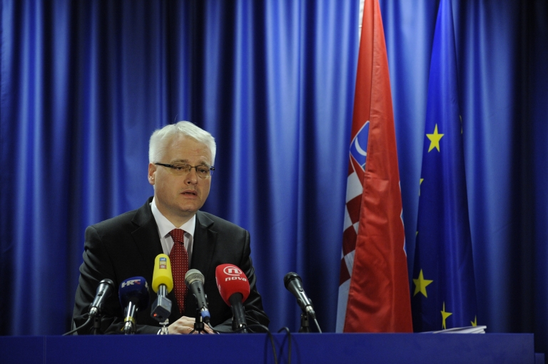 <p>Croatia President Ivo Josipovic gives a press conference after the signing of Croatia's EU accession treaty at the EU headquarters in Brussels on Dec. 9, 2011.</p>