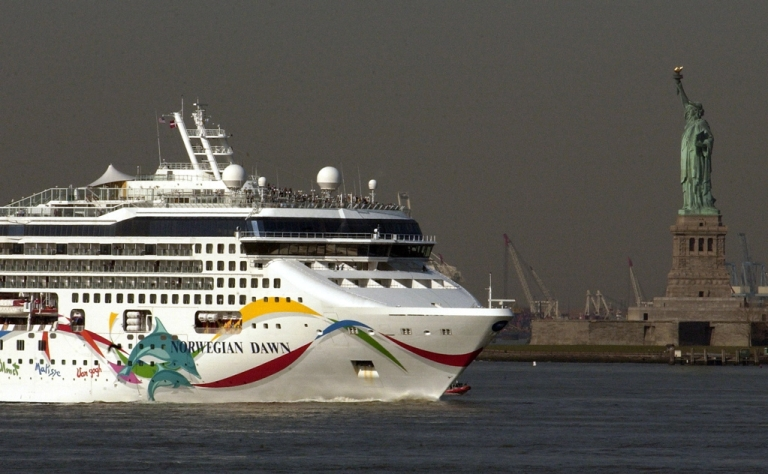 <p>The cruise ship Norwegian Dawn arrives to New York on April 18, 2005, after making an unscheduled stop in Charleston, SC, due to a large wave that battered the ship.</p>