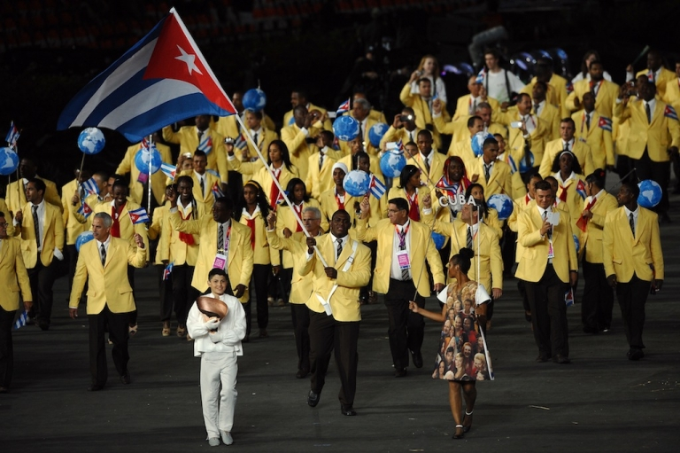 <p>Cuba during the opening ceremony of the London 2012 Olympic Games at the Olympic Stadium on July 27, 2012 in London, England.</p>