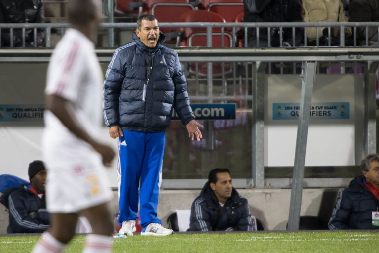 <p>Cuban coach Garces Gonzalez shouts instructions to his team during their 3-0 World Cup qualifier loss to Canada in Toronto on October 12, 2012.</p>