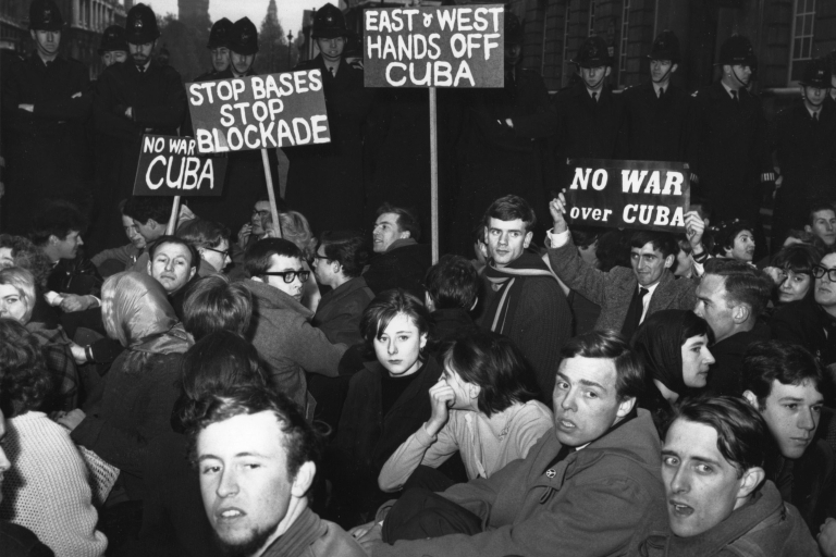 <p>In London, protesters stage a sit-in against war over the Cuban missile crisis Oct. 24, 1962.</p>