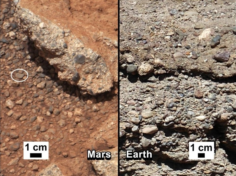 <p>This set of images compares the Link outcrop of rocks on Mars (left) with similar rocks seen on Earth (right).</p>