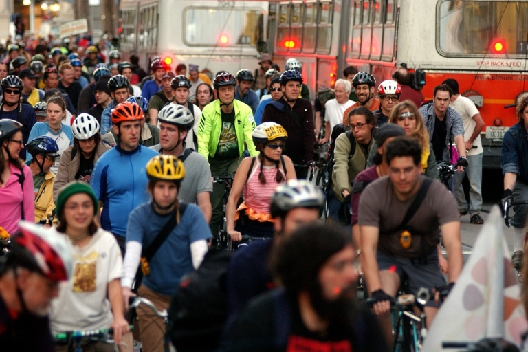 <p>Bicycle riders participate in a 'Critical Mass' war protest in Justin Herman Plaza on March 28, 2003, in San Francisco, Calif.</p>