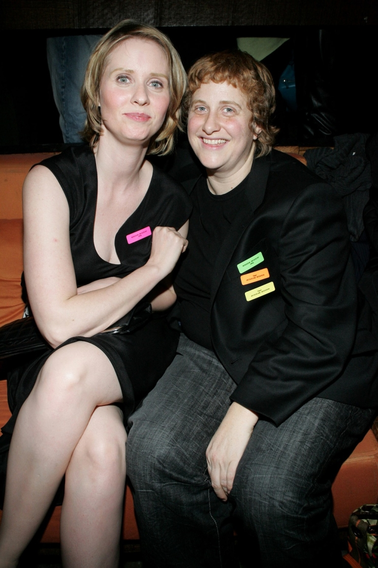 <p>Actress Cynthia Nixon and activist Christine Marinoni attend the