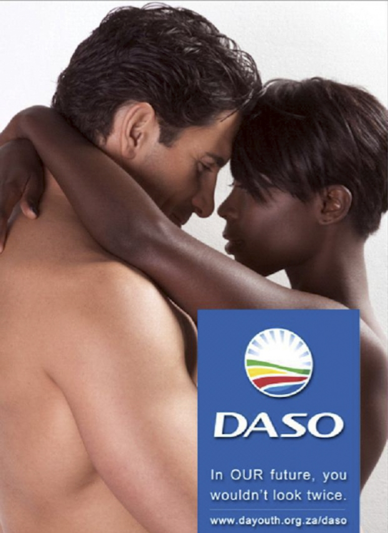 <p>The poster behind the controversy, put out by the youth wing of the Democratic Alliance, South Africa's main opposition party.</p>