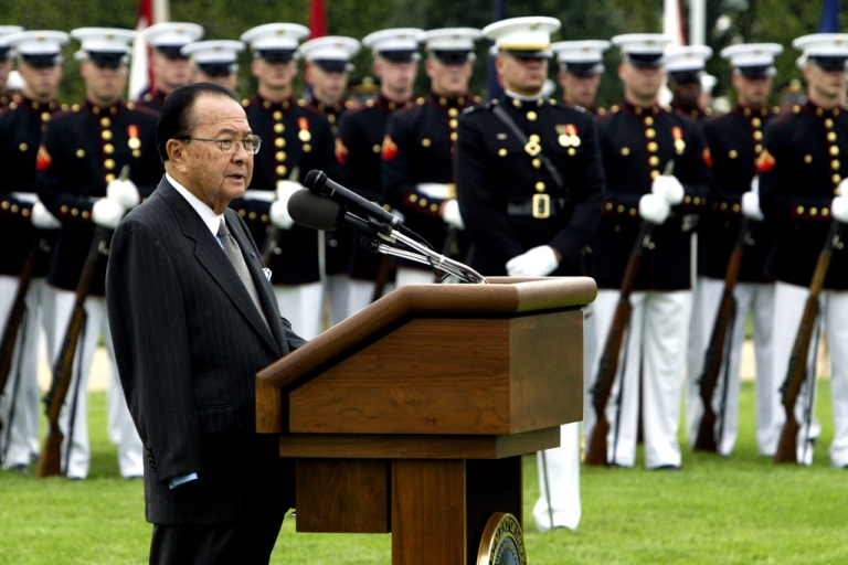 <p>Sen. Daniel Inouye, a Democrat from Hawaii, speaking outside the Pentagon during the annual National POW/MIA Recognition Day ceremony on September 14, 2004. Inouye, who lost his arm in World War II combat, was a Medal of Honor recipient. He passed away on December 17, 2012, after serving in the Senate for 50 years.</p>