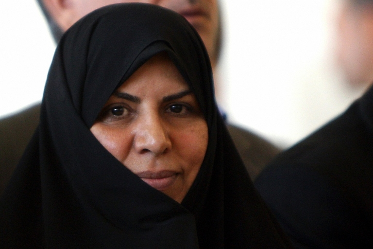 <p>Iran's first woman minister Marzieh Vahid Dastjerdi attends a press conference by President Mahmoud Ahmadinejad after parliament voted for his proposed cabinet in Tehran on September 3, 2009.</p>
