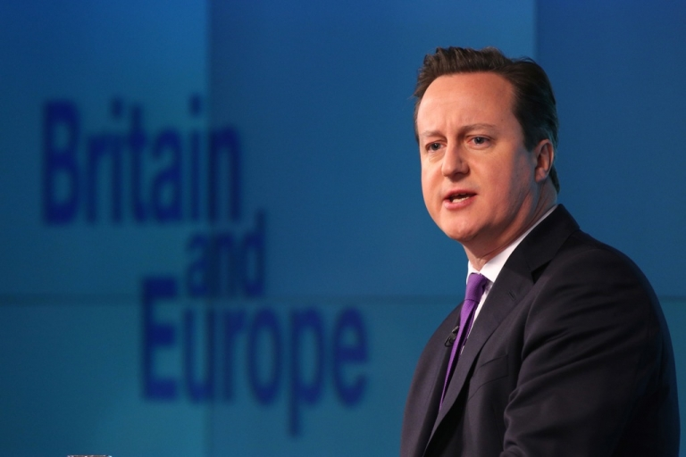 <p>British Prime Minister David Cameron delivers his long-awaited speech on the UK's relationship with the EU on January 23, 2013 in London, England. Cameron has promised a referendum on EU membership should the Conservatives win the next election.</p>