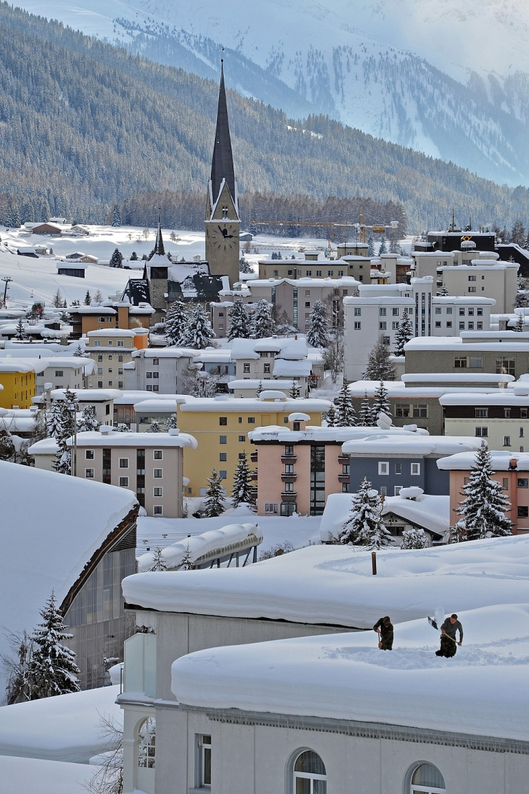 <p>Davos, scene of the annual World Economic forum. The view from the mountaintop this year is as bleak as it is down below in the real world</p>