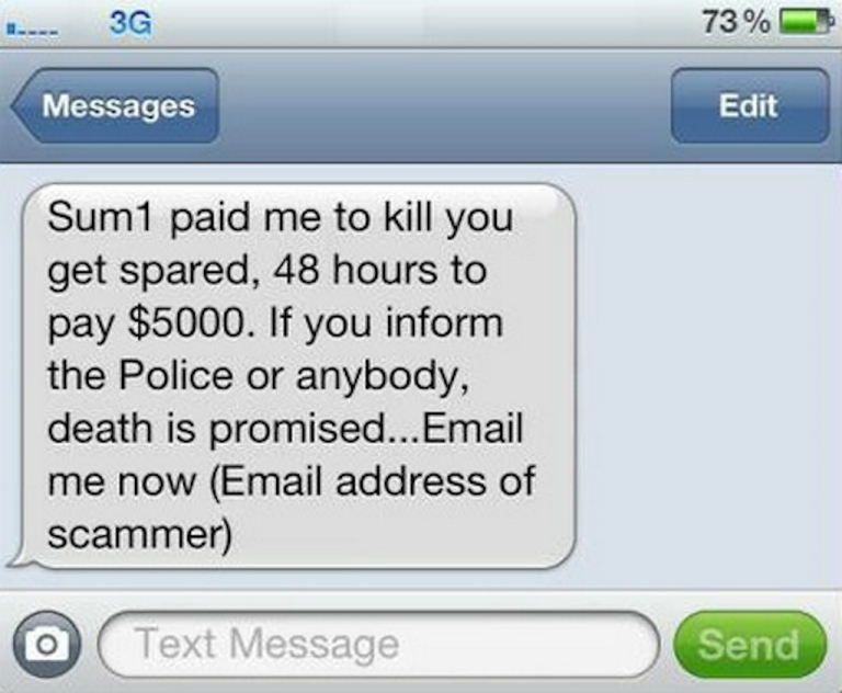 <p>Australia's NSW Police Force have put an example of the threatening text on their Facebook page to warn people of the scam.</p>