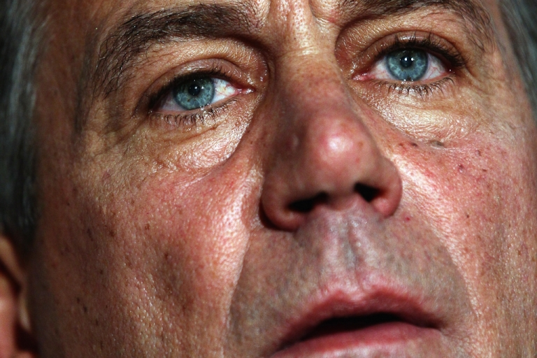 <p>Speaker of the House John Boehner (R-OH) speaks during a press conference following a meeting at the Republican National Committee offices July 26, 2011 in Washington, DC. During the height of battle between Congressional Republicans and the White House, Boehner introduced legislation Monday that would raise the debt ceiling in two stages and cut $3 trillion in budget cuts.</p>