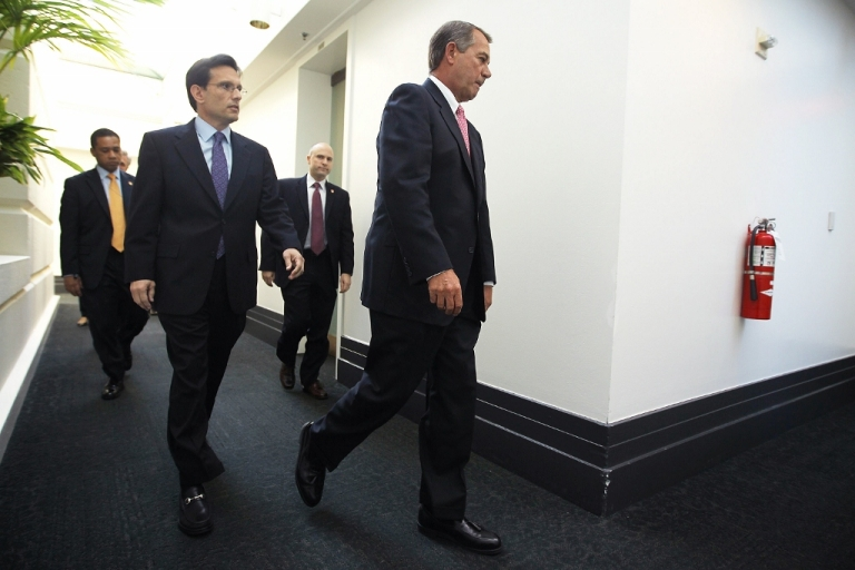 <p>Speaker of the House John Boehner (R-OH) and House Majority Leader Eric Cantor (R-VA) Jan. 18, 2012 on Capital Hill in Washington, D.C. Republicans are playing a dangerous game with the debt ceiling.</p>