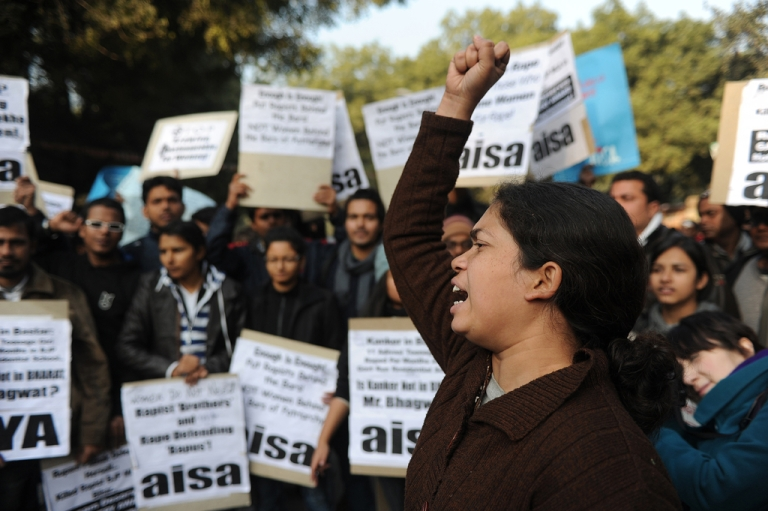 <p>Indian students shout slogans against Indian spiritual guru Asaram Bapu during a protest in New Delhi on January 8, 2013. Asaram sparked a backlash Tuesday after saying a 23-year-old student could have averted a murderous gang-rape by begging for mercy from her attackers.</p>
