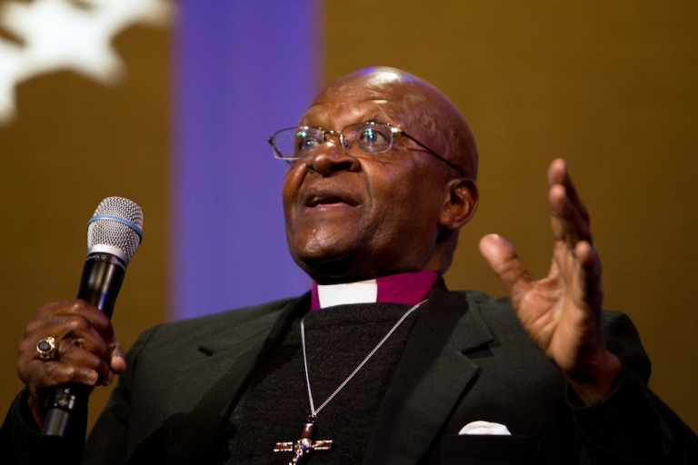 <p>Archbishop Desmond Tutu speaks on stage during the seventh annual meeting of the Clinton Global Initiative at the Sheraton New York Hotel on Sept. 21, 2011, in New York City.</p>