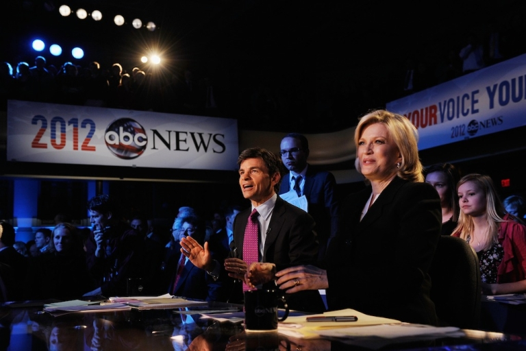 <p>Moderators George Stephanopoulos and Diane Sawyer during the ABC News GOP Presidnetial debate on the campus of Drake University on December 10, 2011.</p>