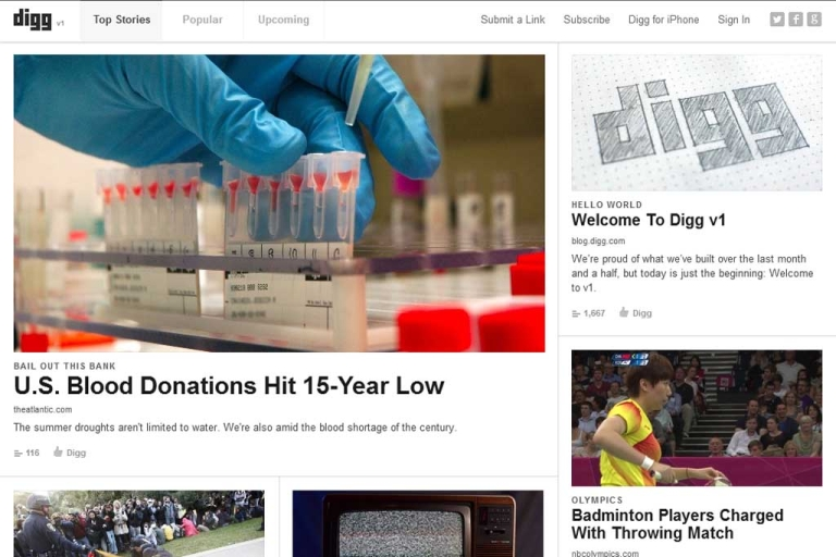 <p>Digg.com re-launched today with a clean, new interface and the promises of greater flexibility for users and developers.</p>