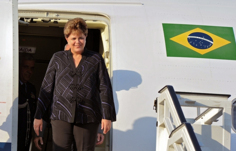 <p>Brazilian President Dilma Rousseff arrives to Jose Marti airport, in Havana on January 30, 2012. Dilma is in Cuba on a three-day official visit.</p>