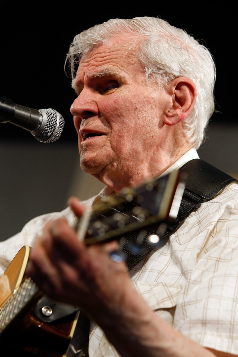 <p>Doc Watson performs in the Blues Tent in the 2009 New Orleans Jazz &amp; Heritage Festival at the Fair Grounds Race Course on May 1, 2009 in New Orleans.</p>