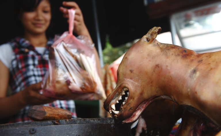 <p>A vendor selling dog meat to a customer at a roadside market in Hanoi, Vietnam in 2012.</p>