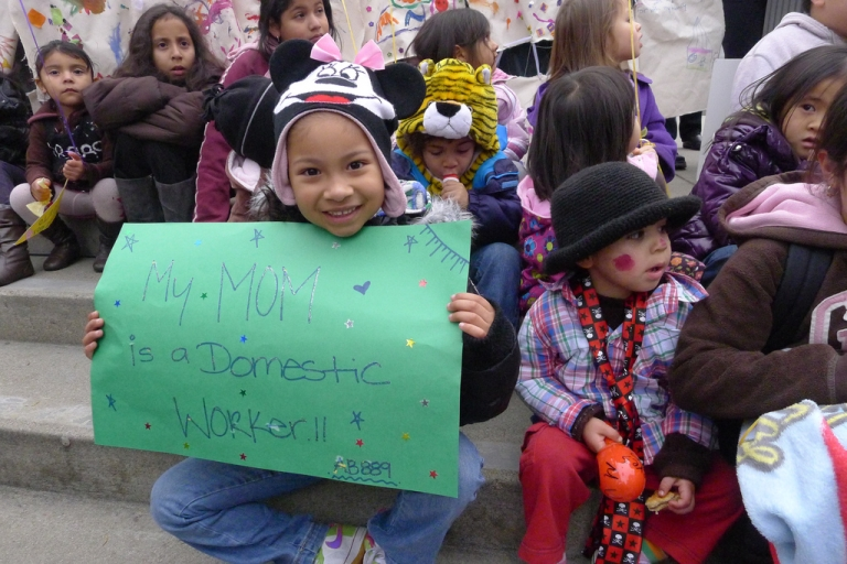 <p>Children of domestic workers rally in support of their parents and pending legislation known as the California Domestic Workers Bill of Rights, which would extend fair labor laws to in-home employees. (Flickr)</p>