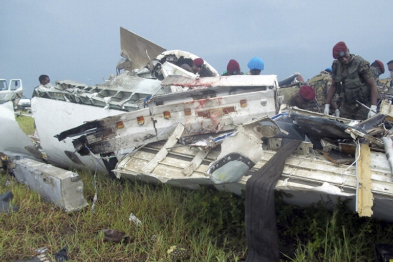 <p>The Democratic Republic of Congo has one of the world's worst air safety records. Soldiers inspect the wreckage of a UN plane after it crashed while trying to land in a storm in Kinshasa, DRC, on April 4, 2011. One person on the plane survived one of the worst disasters ever involving UN transport.</p>