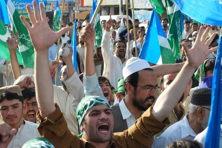<p>Pakistanis shout slogans during a demonstration in Quetta, on July 19, 2011, to protest against U.S. drone attacks.</p>