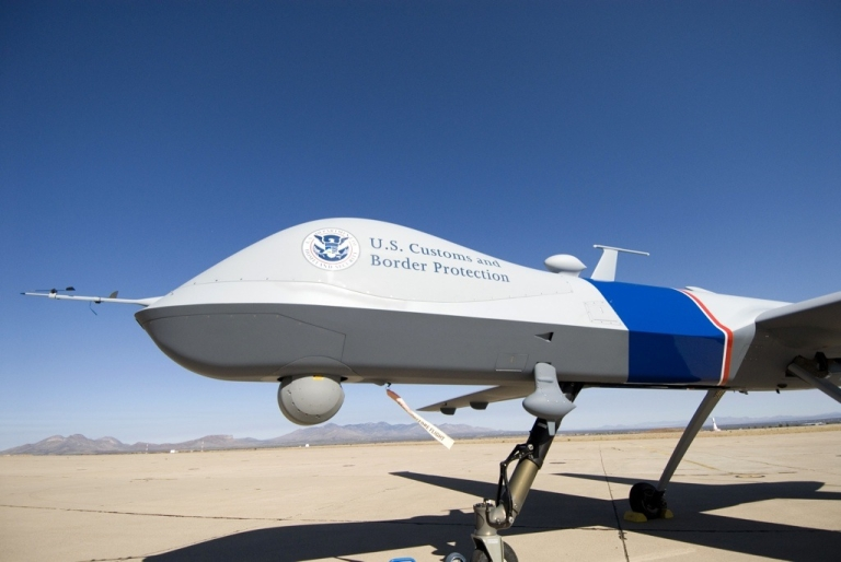 <p>The MQ-9 Predator B, an unmanned surveillance aircraft system, is unveiled by US Customs and Border Protection at Libby Army Airfield on Oct. 30, 2006 in Sierra Vista, Ariz.</p>