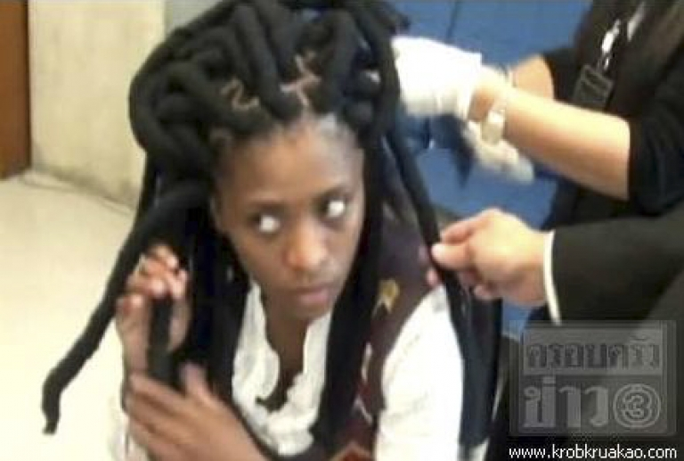 <p>A South African woman was arrested at Bangkok's Suvarnabhumi Airport after police found cocaine hidden in her dreadlocks.</p>