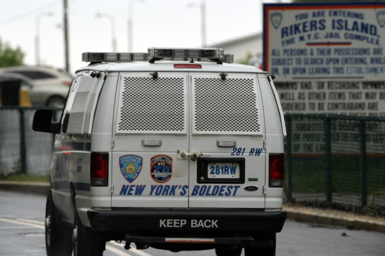 <p>A view of the entrance to the Rikers Island prison complex where Dominique Strauss-Kahn, head of the International Monetary Fund (IMF), is being held while awaiting another bail hearing, on May 17, 2011, in New York City.</p>