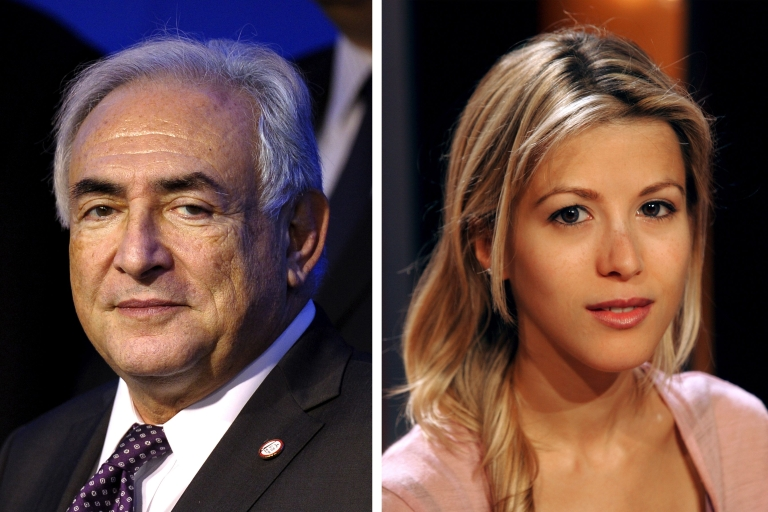 <p>A combination of two images shows (at L) a picture taken in 2011 of former IMF chief Dominique Strauss-Kahn and a picture taken in 2004 of French writer Tristane Banon.</p>