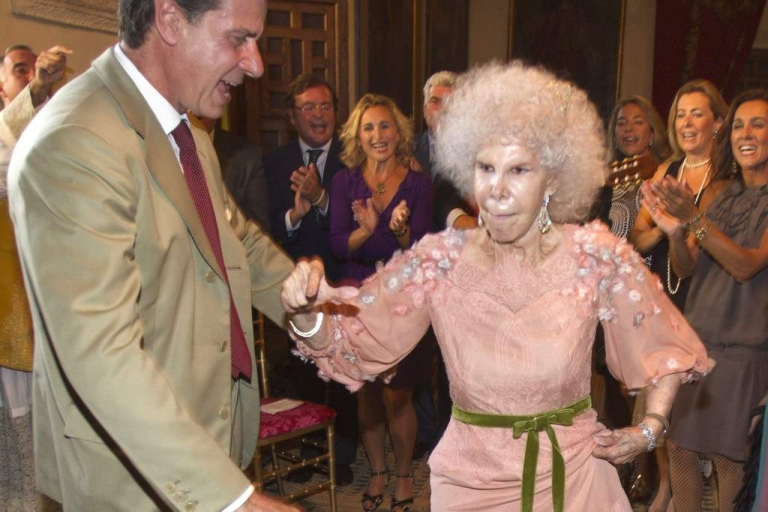 <p>Duchess of Alba, Maria del Rosario Cayetana Fitz-James-Stuart dances with son Cayetano Martinez de Irujo during her wedding ceremony to Alfonso Diez Carabantes held at Duenas Palace on October 5, 2011 in Seville, Spain.</p>