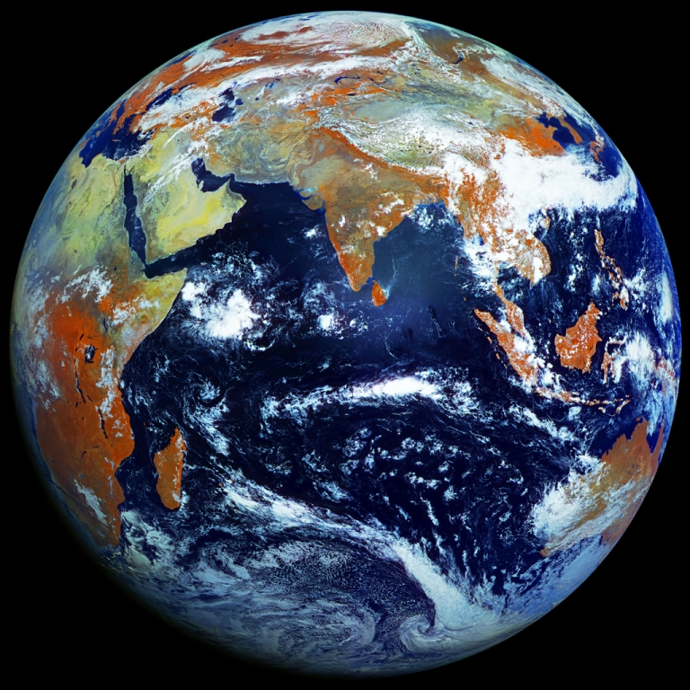 <p>This is the highest-resolution single photograph of planet Earth, taken by Russian weather satellite Elektro-L.</p>