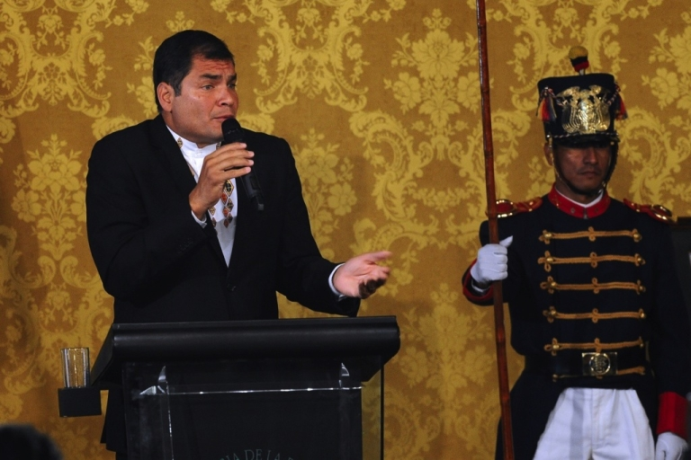<p>Ecuador President Rafael Correa speaks during a press conference at the Carondelet presidential palace in Quito on Feb. 27, 2011. Correa announced Monday he was pardoning the executives and a former columnist of El Universo newspaper in a high-profile libel case in which a court levied jail sentences and a $40 million fine.</p>