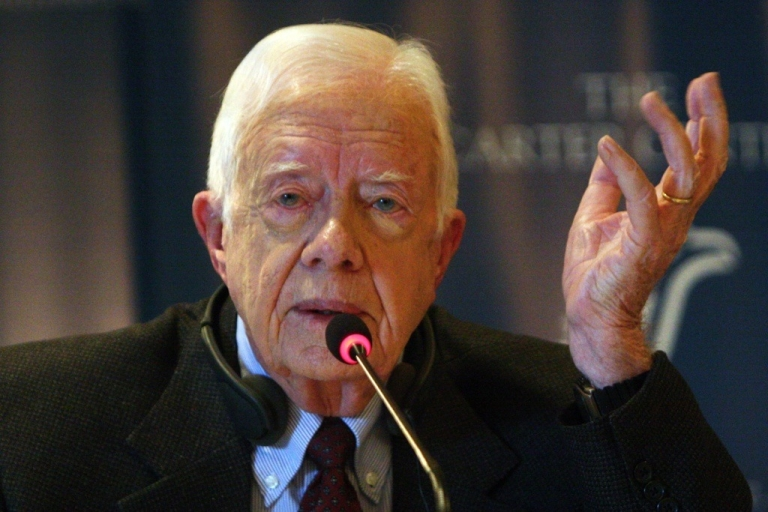 <p>Former US president Jimmy Carter speaks during a press conference in Cairo, Egypt on Jan. 13, 2012.</p>