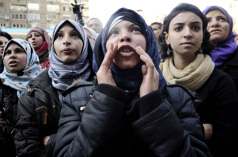 <p>Egyptian women protest against the military's support for virginity tests on women in Cairo on Dec. 27, 2011.</p>