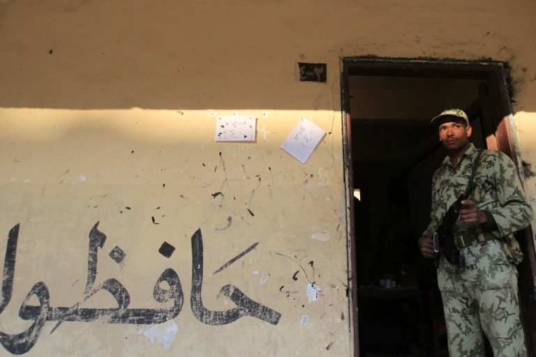 <p>The Egyptian military is finding itself outgunned and outmanned against militants in Sinai, near the border with Israel. Here, an Egyptian soldier in Cairo.</p>